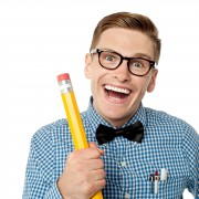 Laughing nerd with pencil to highlight using humour in speech writing.
