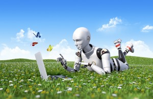 Shows a copywriting robot on computer outdoors in a field with grass and flowers. The message of the post is to avoid robotic copywriting.