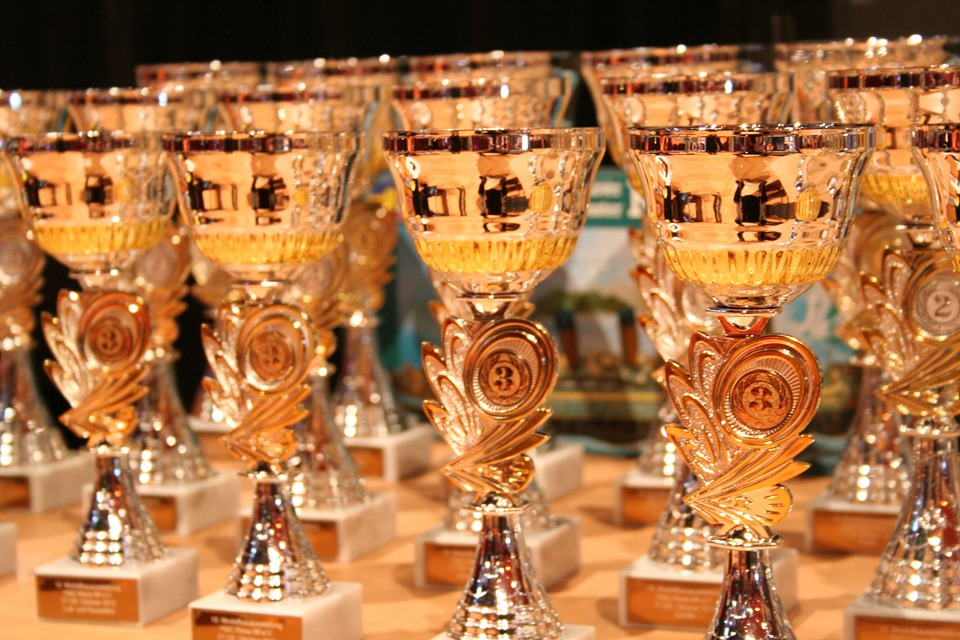 Award cups that can be won by writing an award submission.